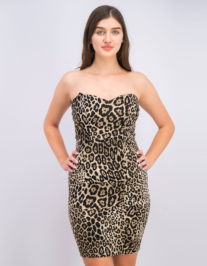 Juniors' Strapless Animal-Print Dress, Tan/Black
