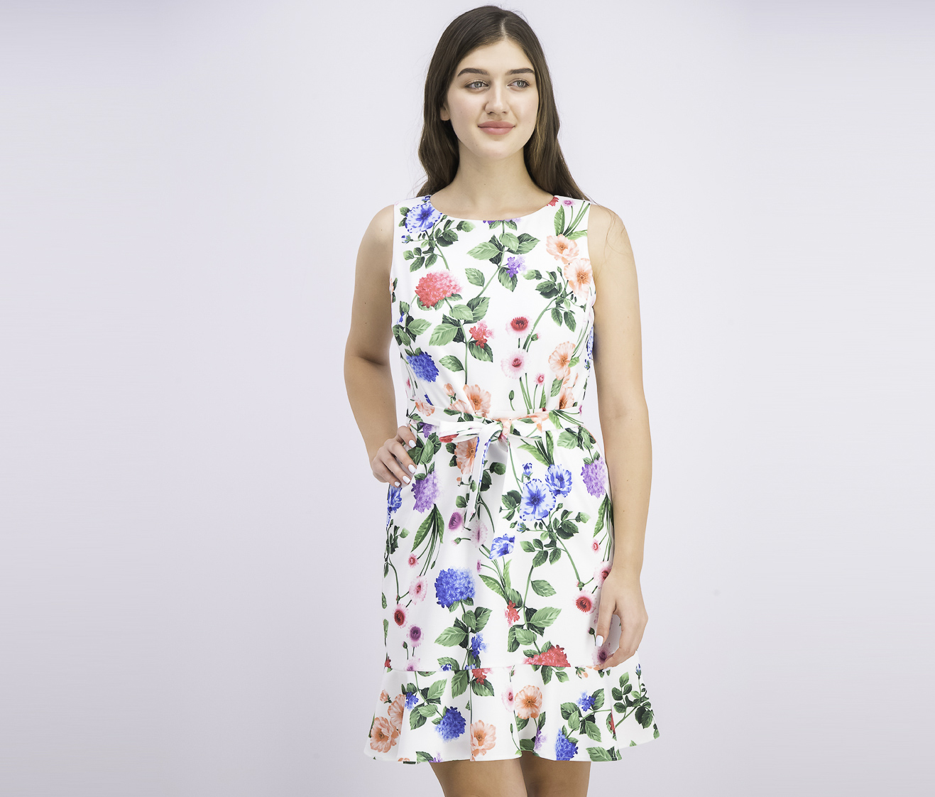 Women's Petite Floral Belted Flounce-Hem Dress, White Combo