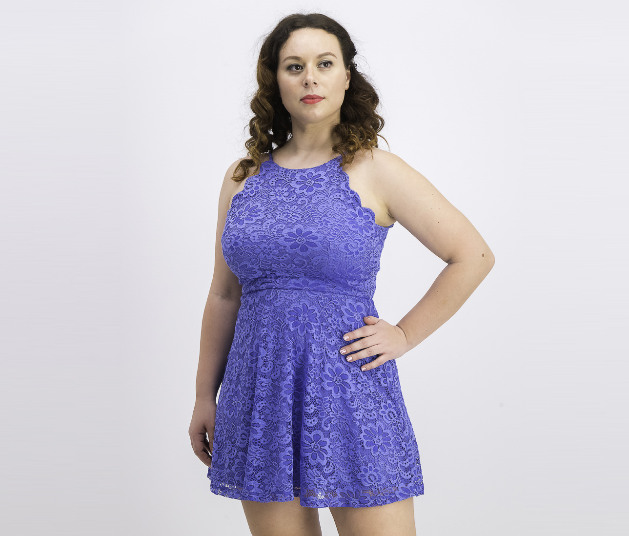 Women's Juniors' Lace Fit & Flare Dress, Periwinkle