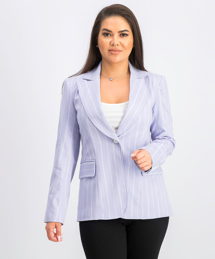 Women's Stripe One Button Jacket, Lavender