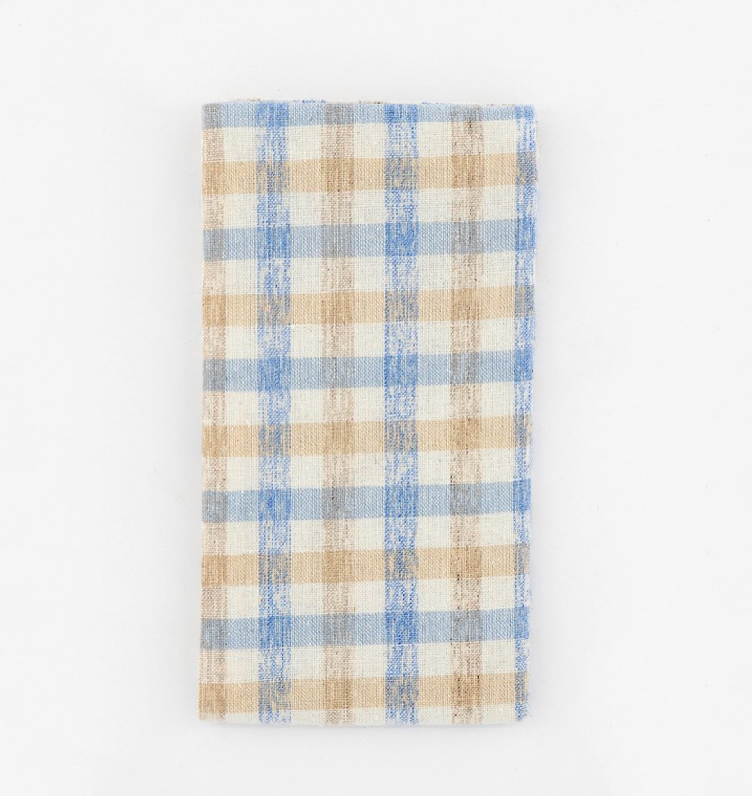 Men's Plaid Handkercheif Pocket Square, Beige