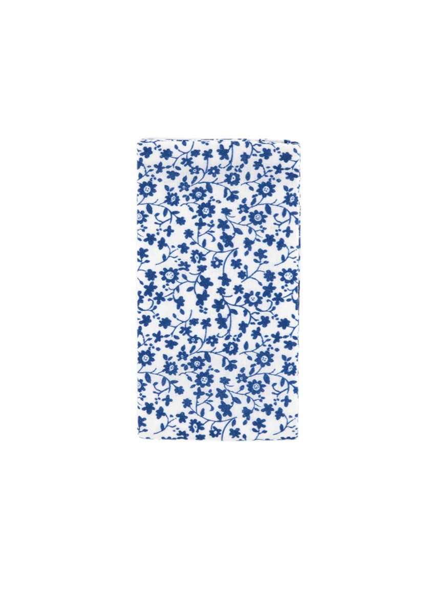 Men's Floral Cotton Pocket Square, White/Blue