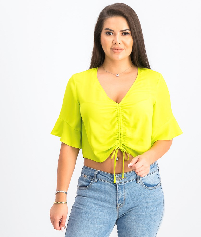 Stacey Ruched-Front Top, Lime Green