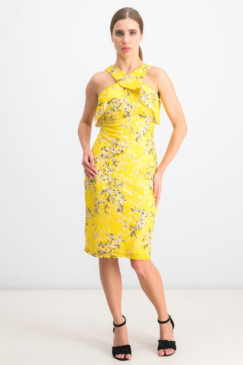 Women's  Off-the-Shoulder Printed Lace Dress, Yellow