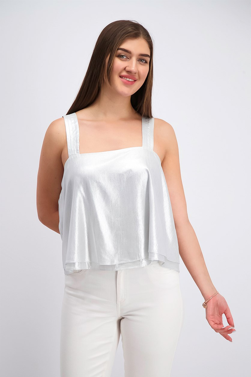 Women's Trapunto Metallic Sleeveless Top, Silver Foil