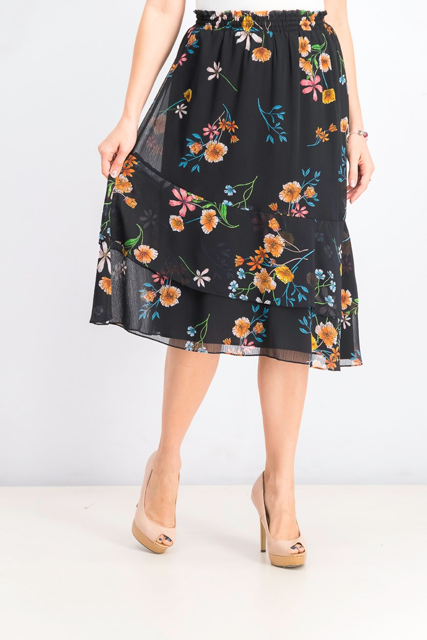 Women's Floral Ruffled Asymmetrical Skirt, Black Combo