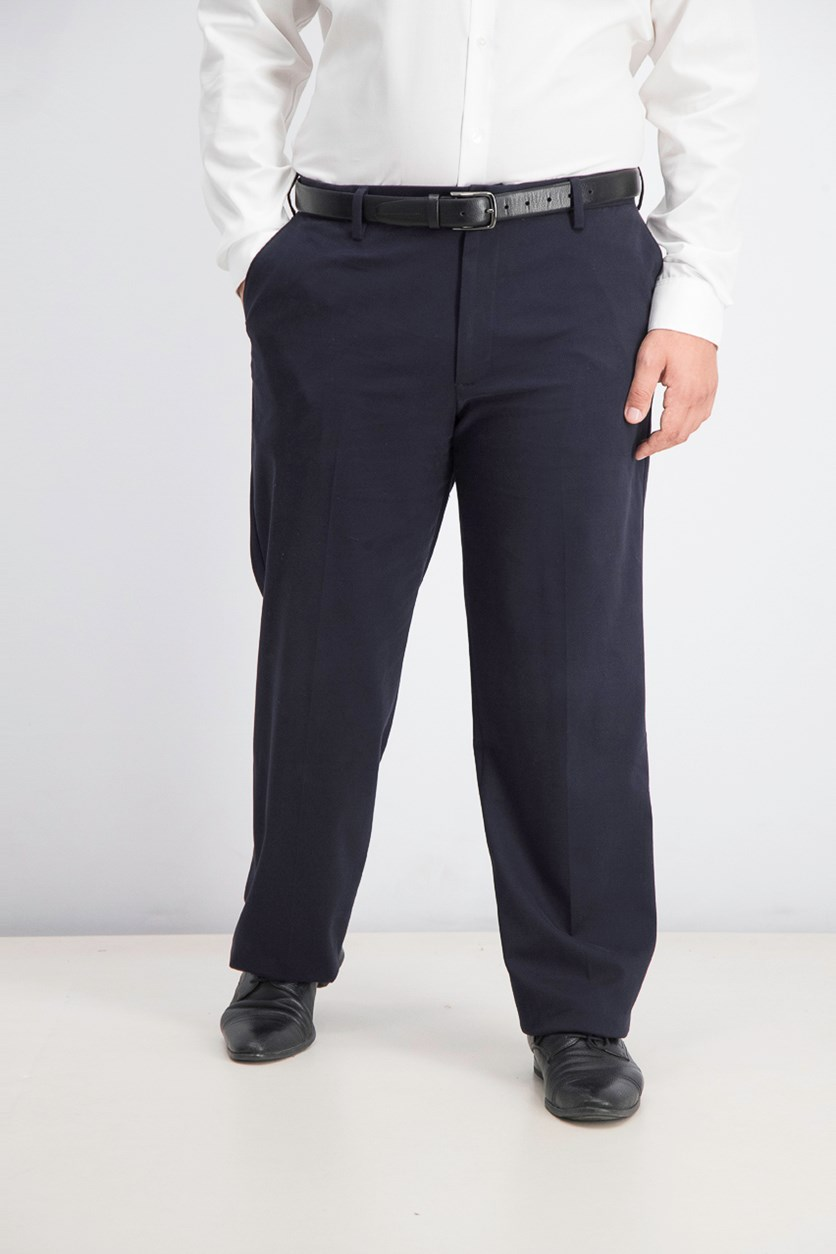 Relaxed Fit Comfort Khaki Flat Pants, Navy