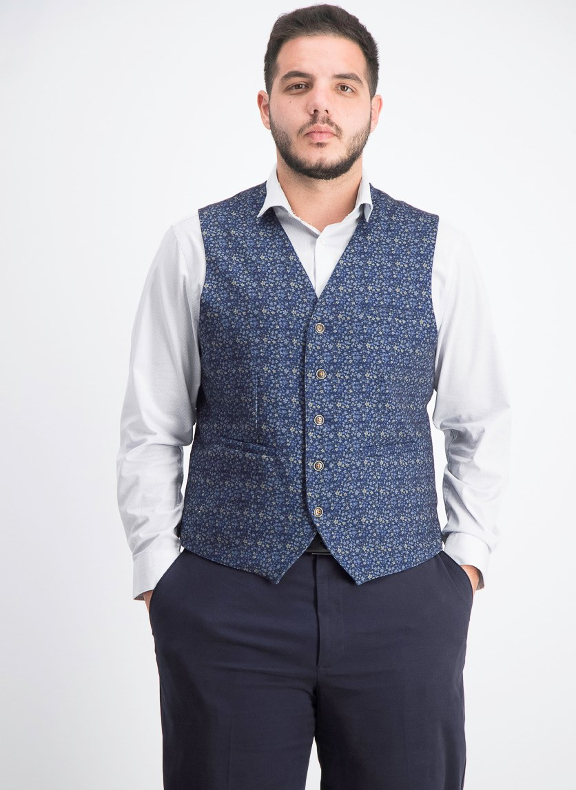 Men's Slim-Fit Stretch Floral Vest, Black/Purple