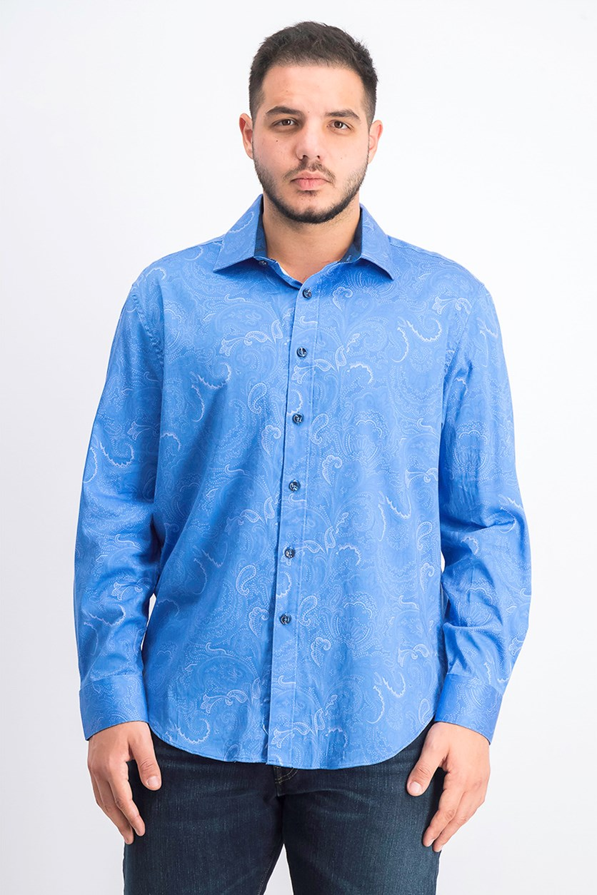 Men's Long Sleeve Printed Casual Shirt, Blue