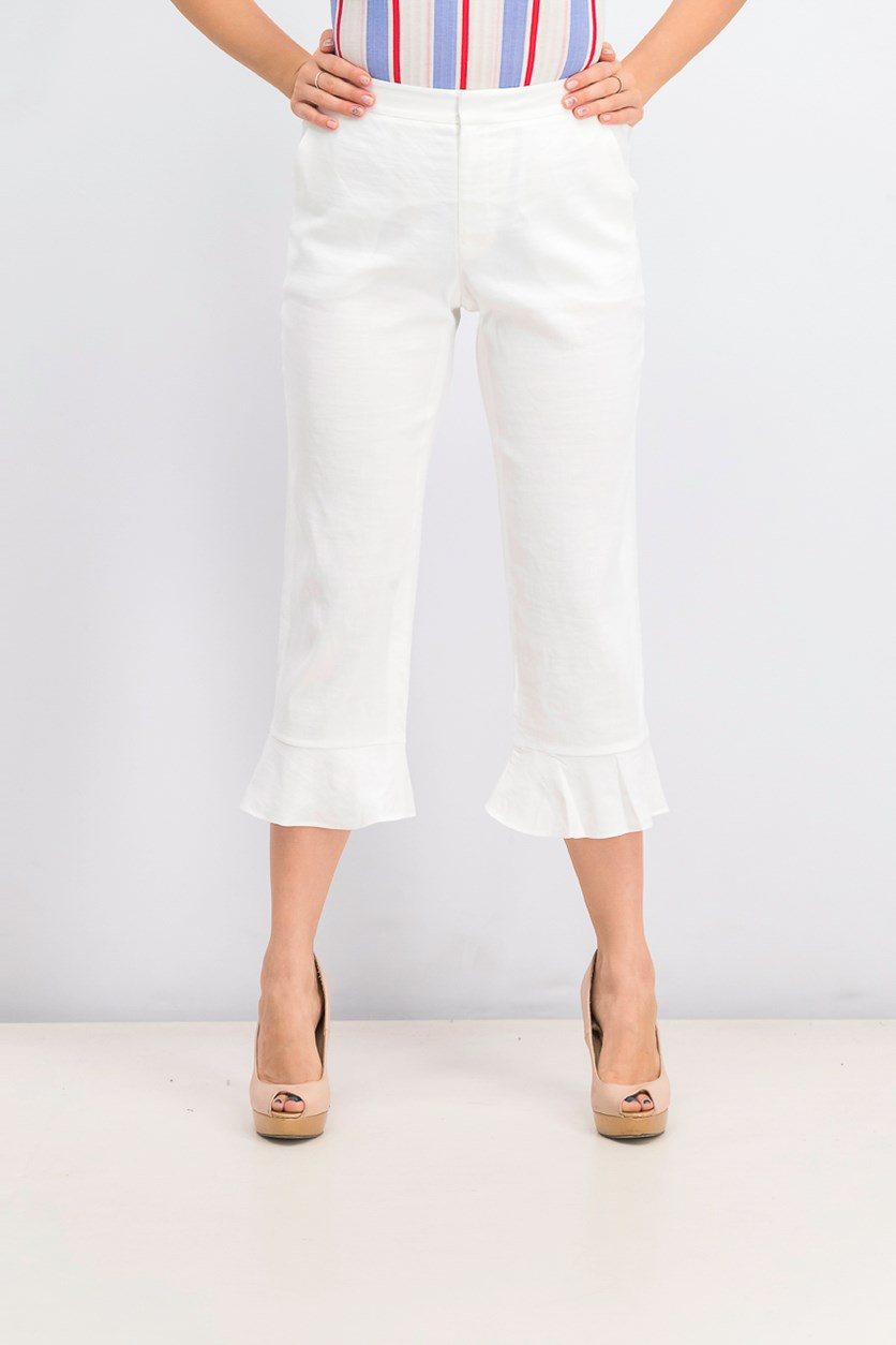 Women's Carenza Ruffle Cuff Crop Pants, White