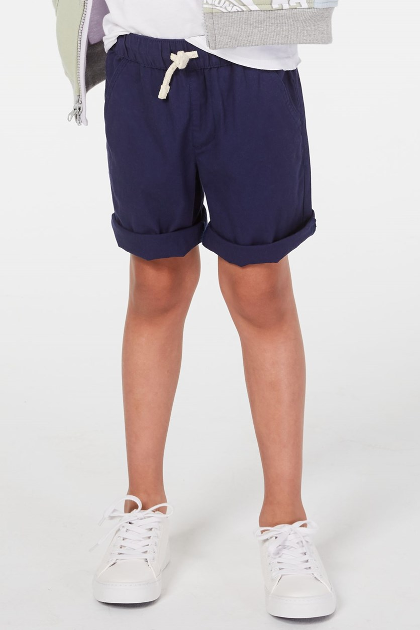 Toddler's Pull-on Shorts with Functional Drawstring, Navy Blue
