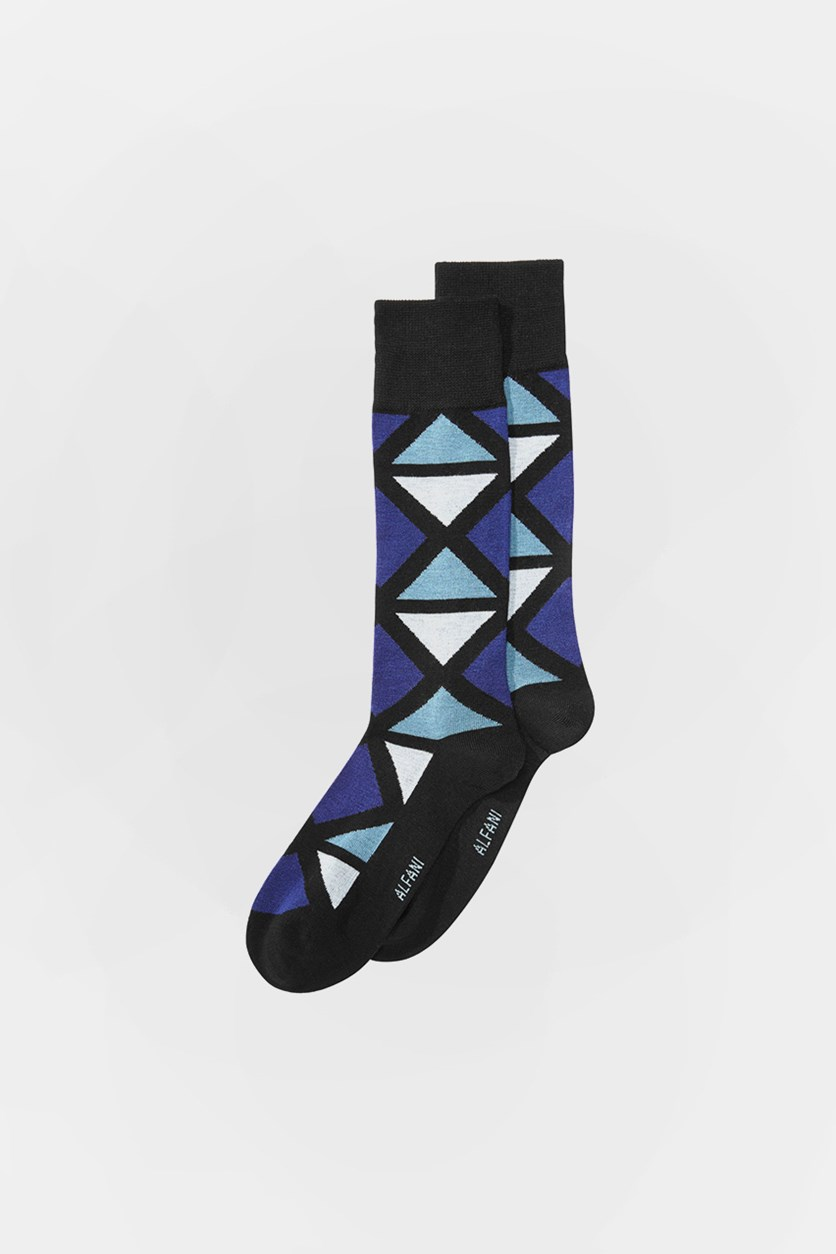 Men's Seamless Business Dress Socks, Black/Navy