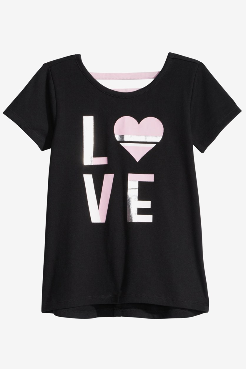 Toddler Girls Love-Print T-Shirt, Black