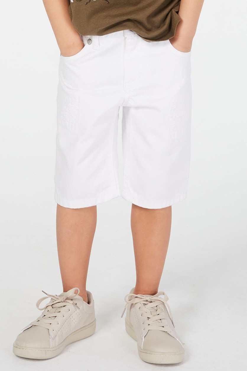 Toddler Boys White Denim Shorts, Bright White