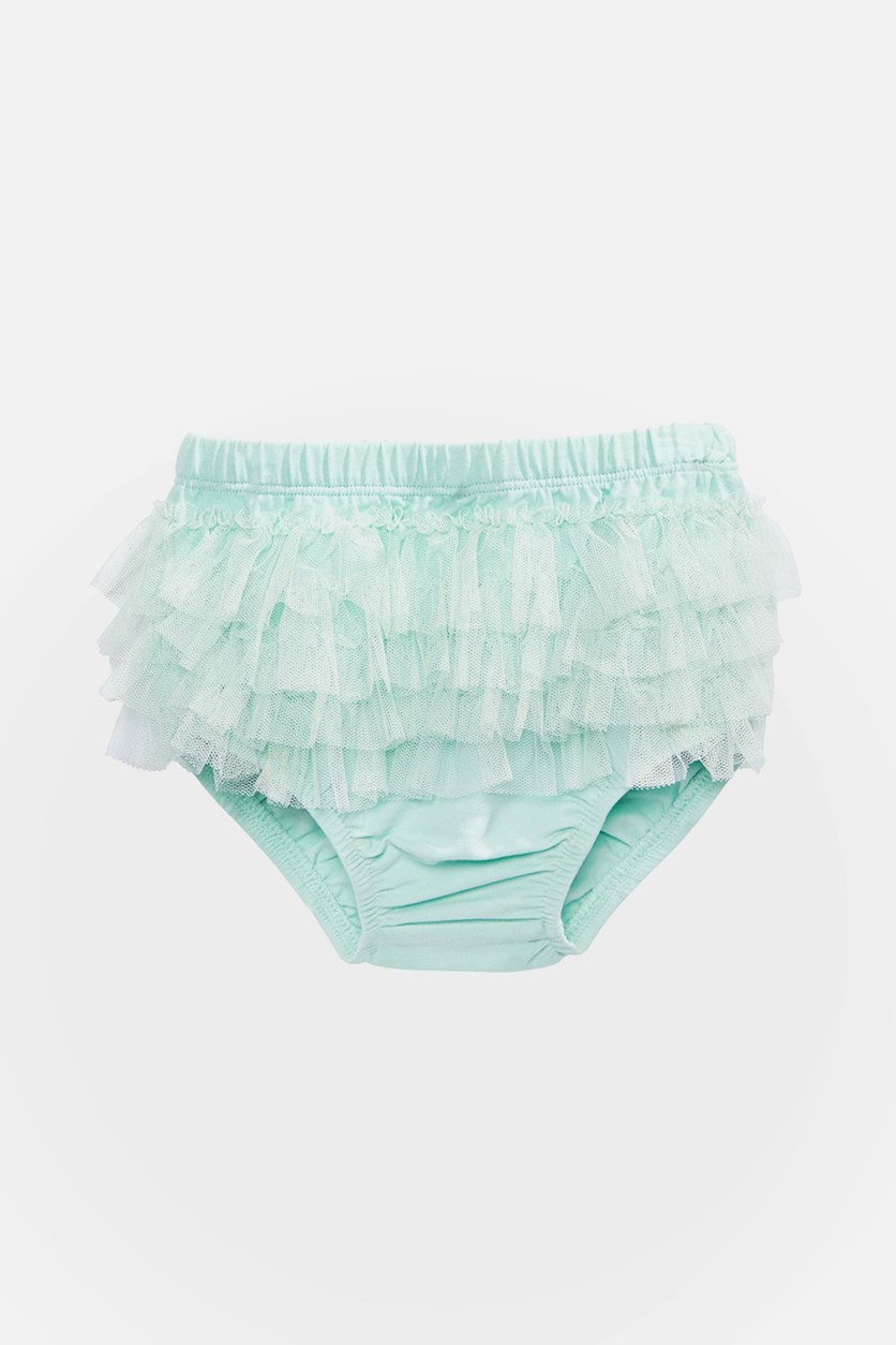 Baby Girls Ruffled Tulle Bloomers, Art Deco Green