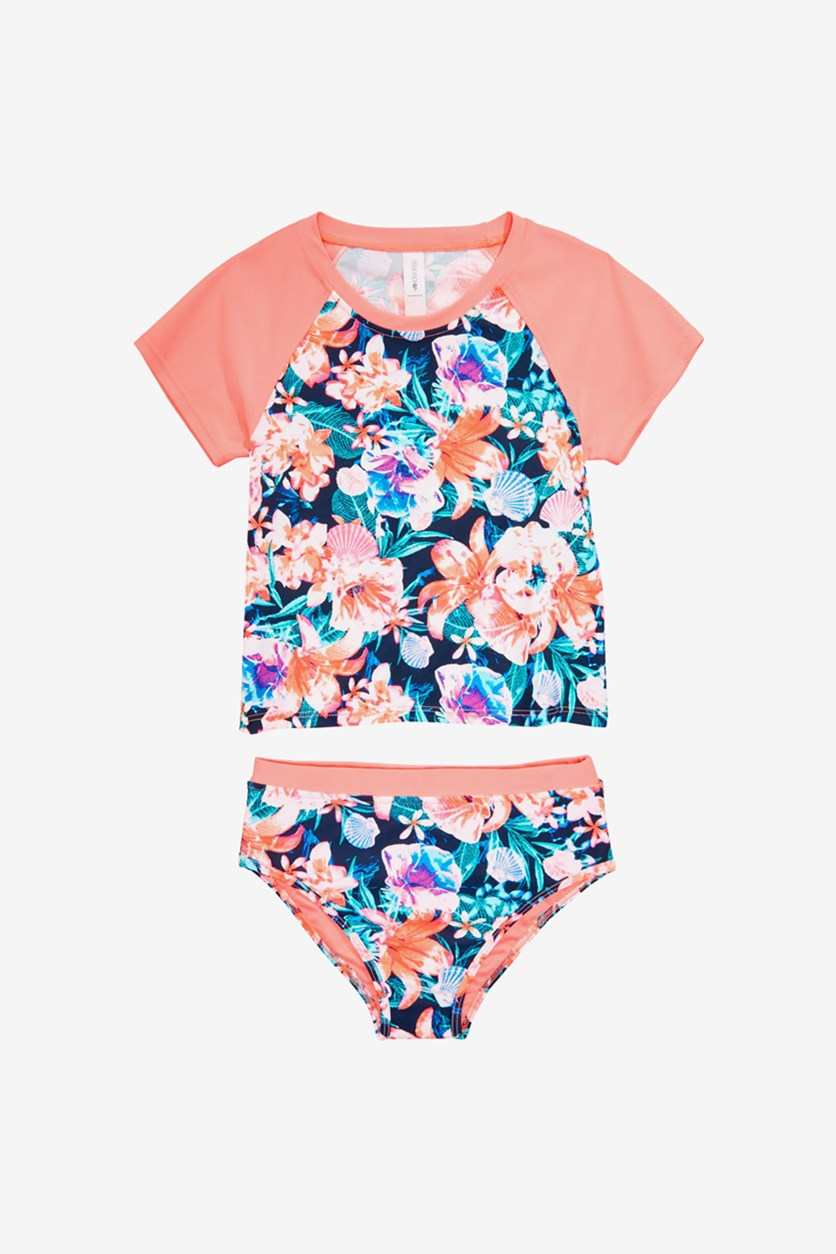 Kid's Girls 2-Pc. Floral-Print Rash Guard Swimsuit, Lucky Blue/Coral