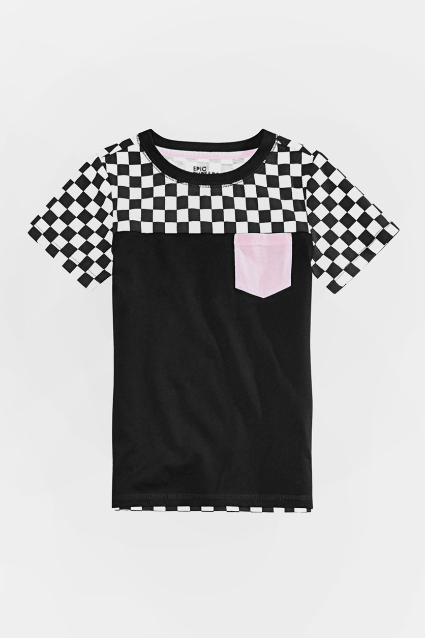 Toddlers Boys Colorblocked Checker Pocket T-Shirt, Deep Black