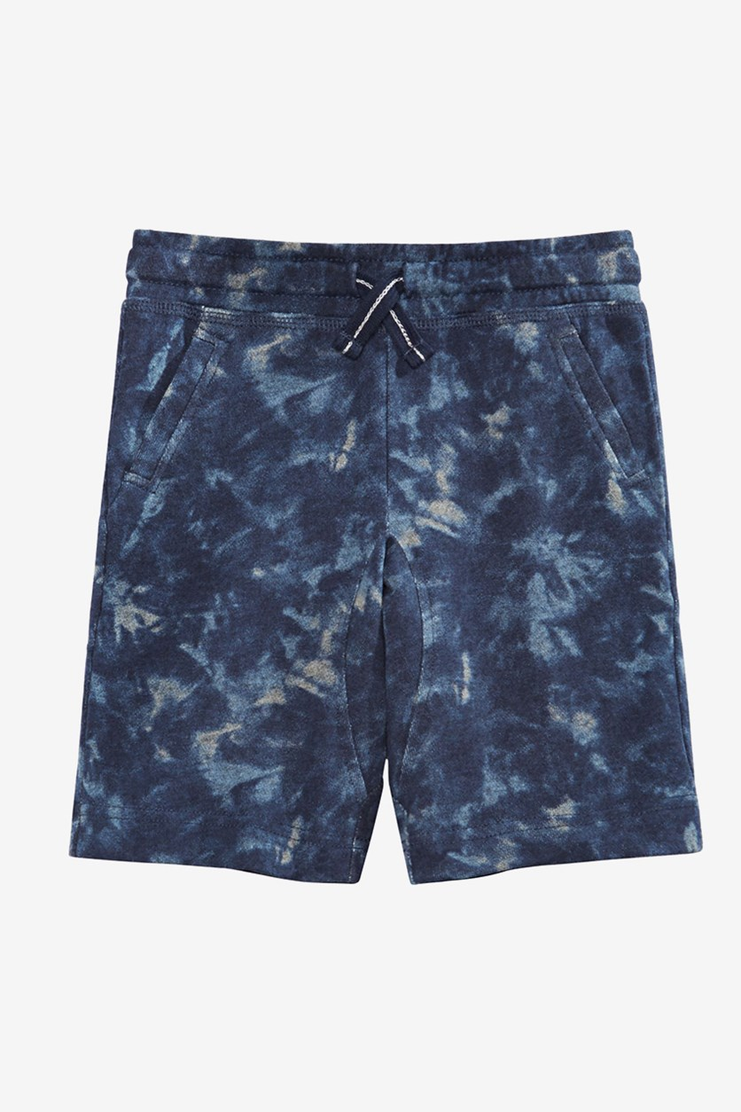 Kids Boys Tie-Dyed Knit Shorts, Denim Blue
