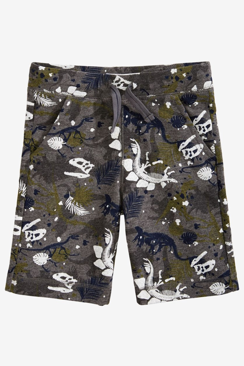 Toddler Boys Dino-Print Knit Shorts, Medium Heather Grey