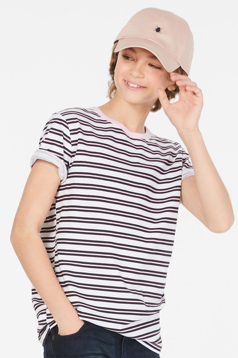 Boy's Striped T-Shirt, Pink/Black/White