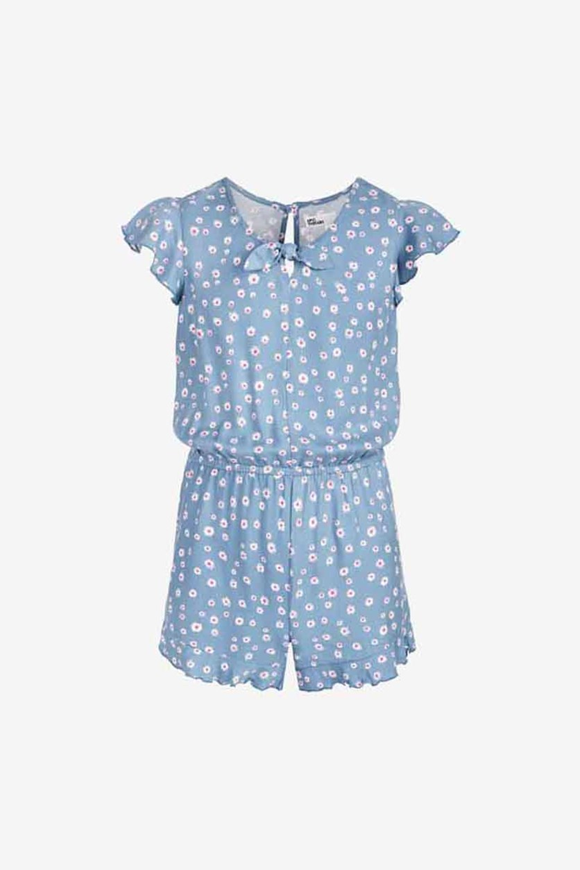 Big Girls Floral-Print Romper, Blue Ashstone