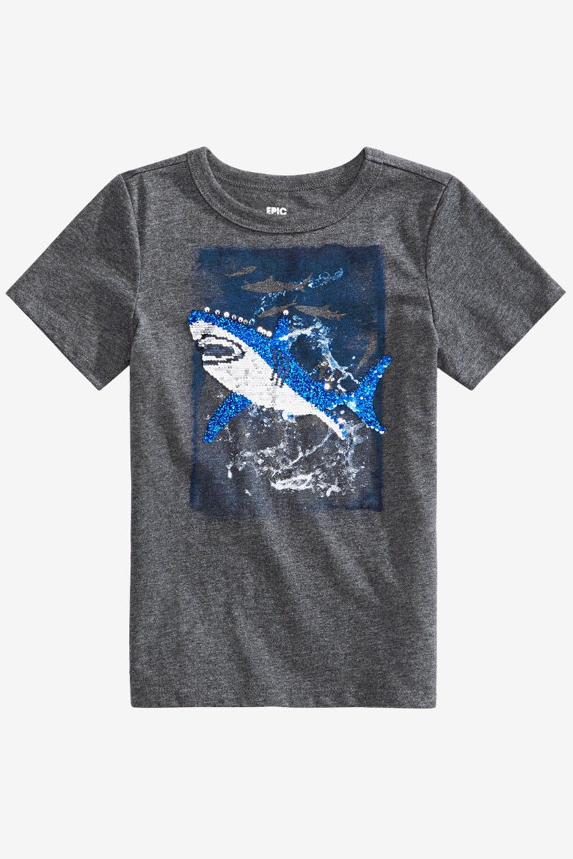 Toddler Boys Sequin Shark Graphic T-Shirt, Charcoal Heather
