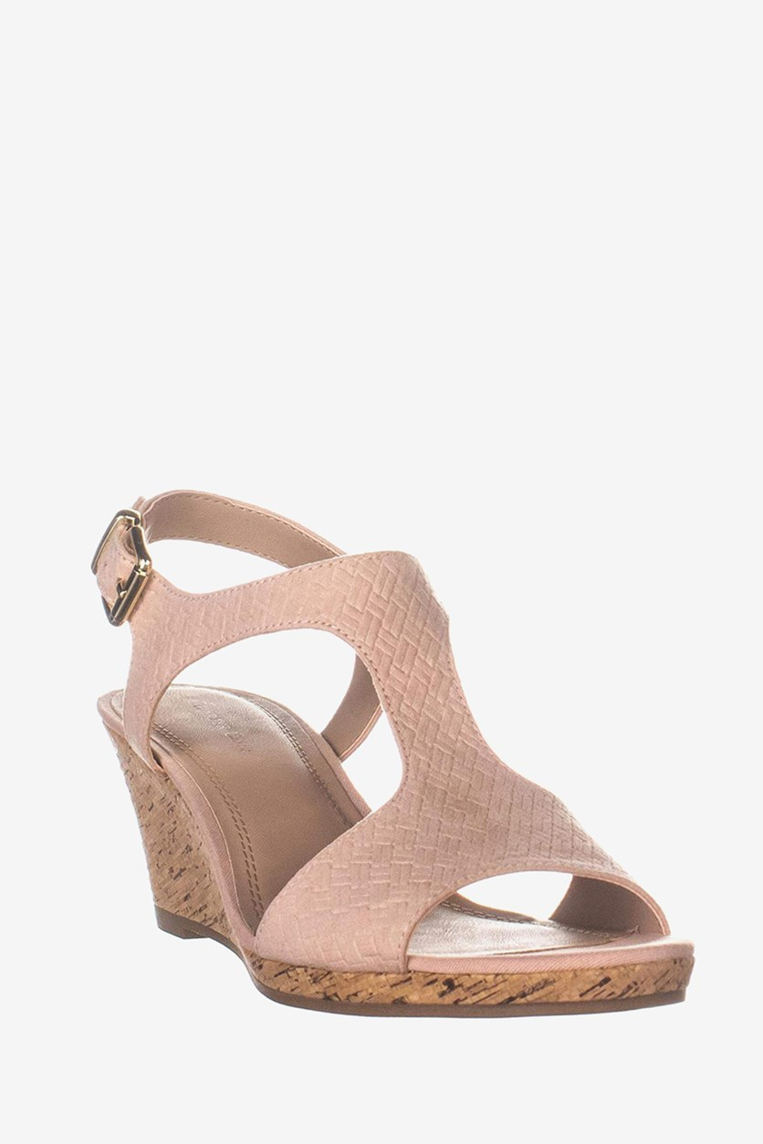 Womens Shelbee Open Toe Casual T-Strap Sandals, Blush