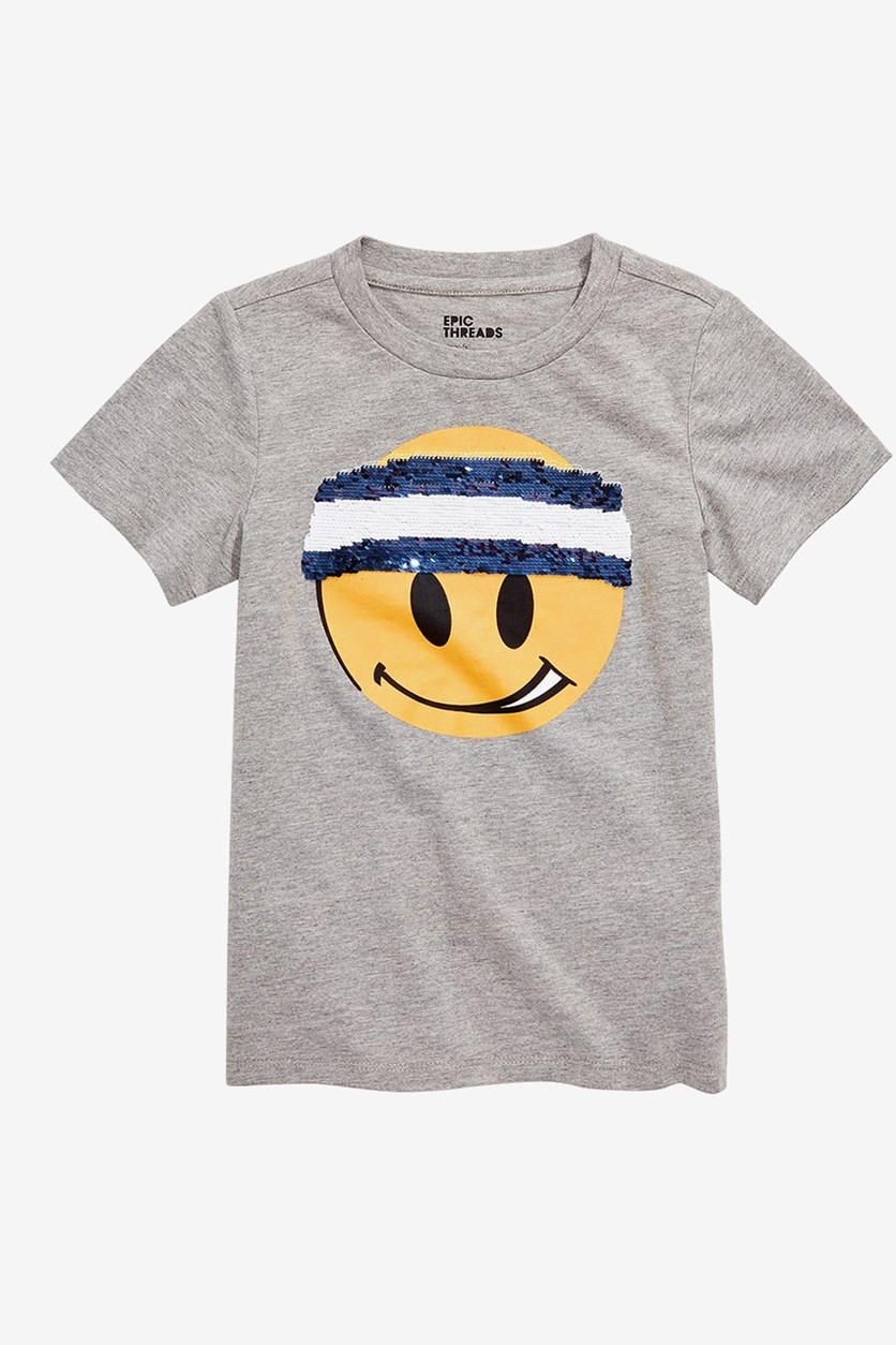 Little Boys Smiley Sequin T-Shirt, Heather Gray