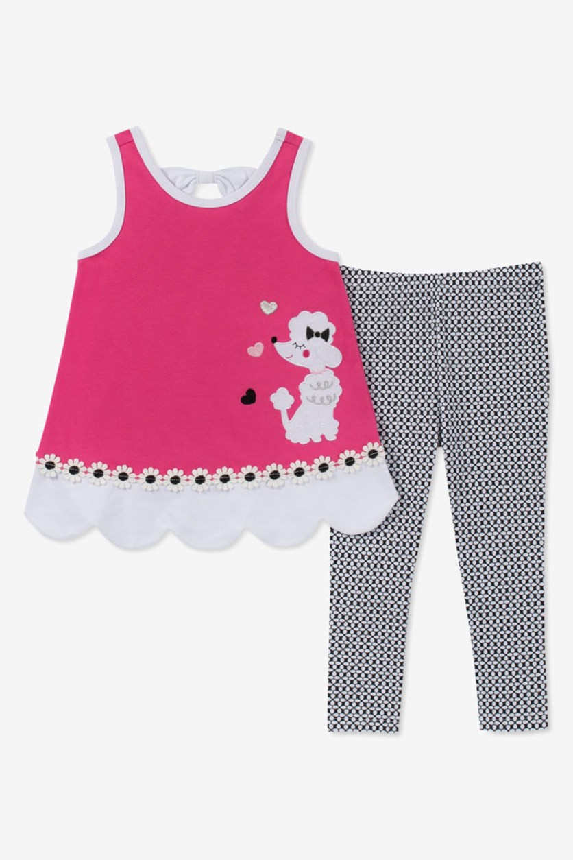 Girls 2-Pc. Poodle Tunic & Printed Leggings Set, Pink/Black