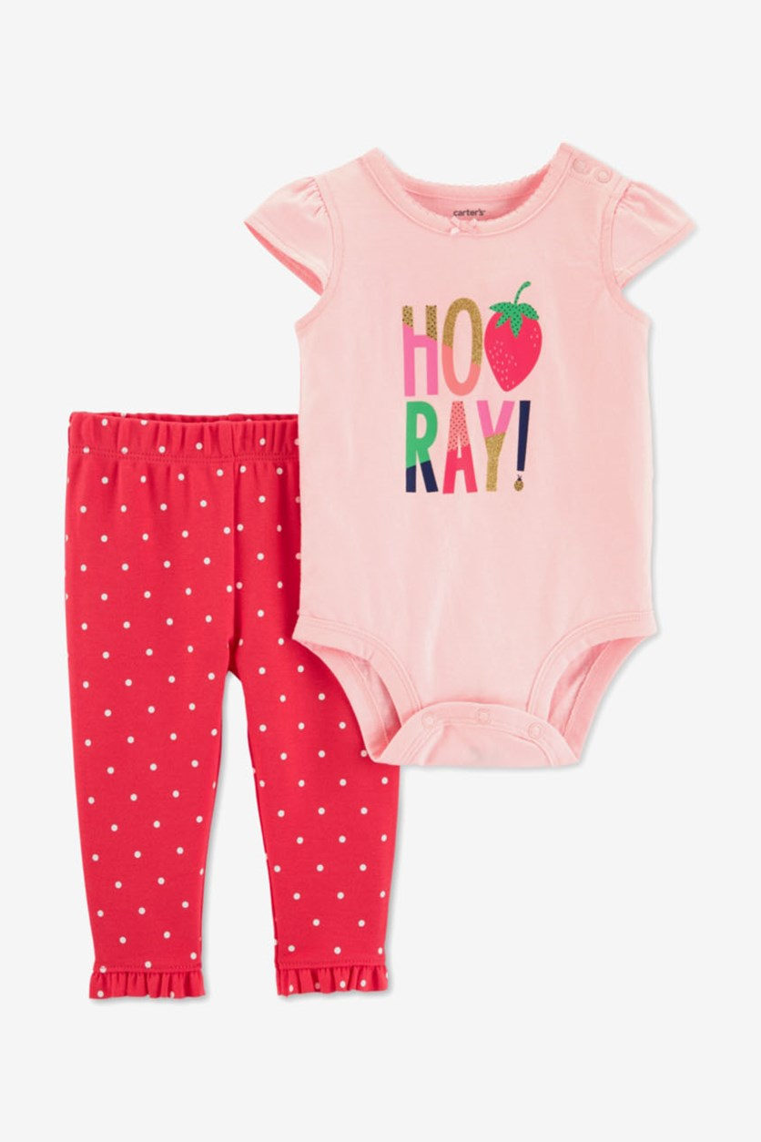 Baby Girl's Bodysuit & Polka-Dot Pants Set, Pink/Red