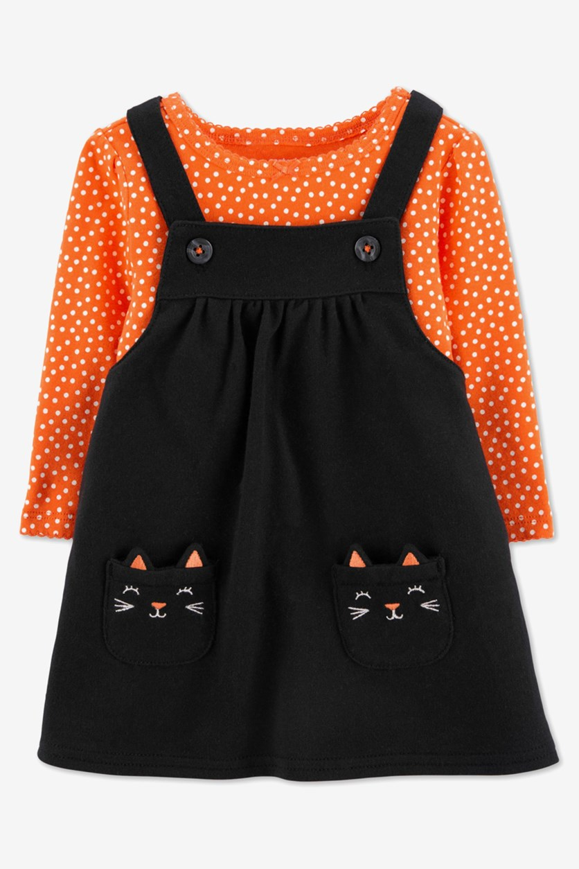 Baby Girls 2-Pc. Cotton Dot-Print Bodysuit & Cat Jumper Set, Orange/Black