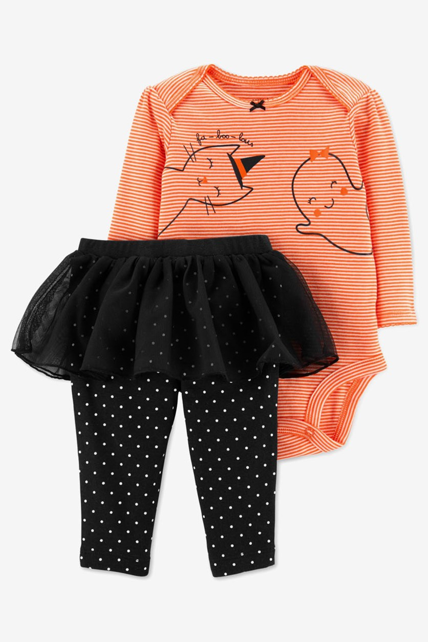 Baby Girls Bear-Print Cotton T-Shirt, Orange/Black