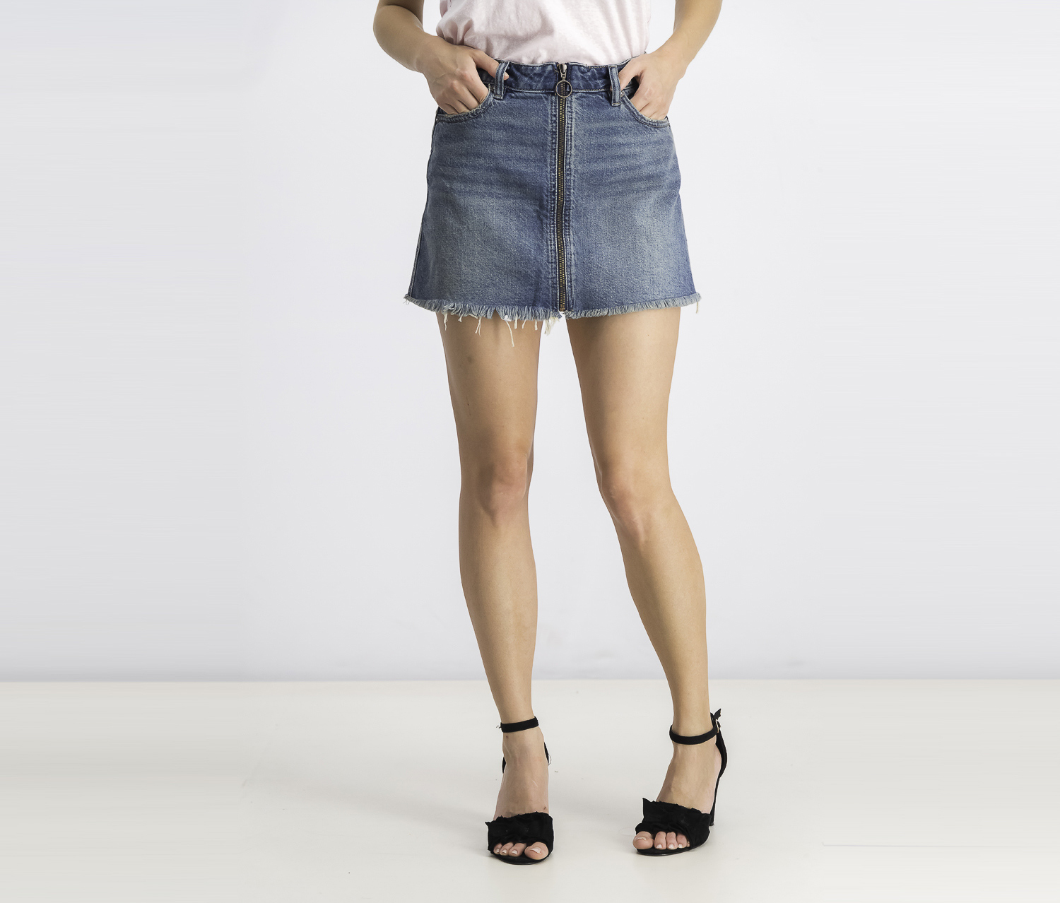 Women's  Zip It Up Denim Mini Skirt, Blue