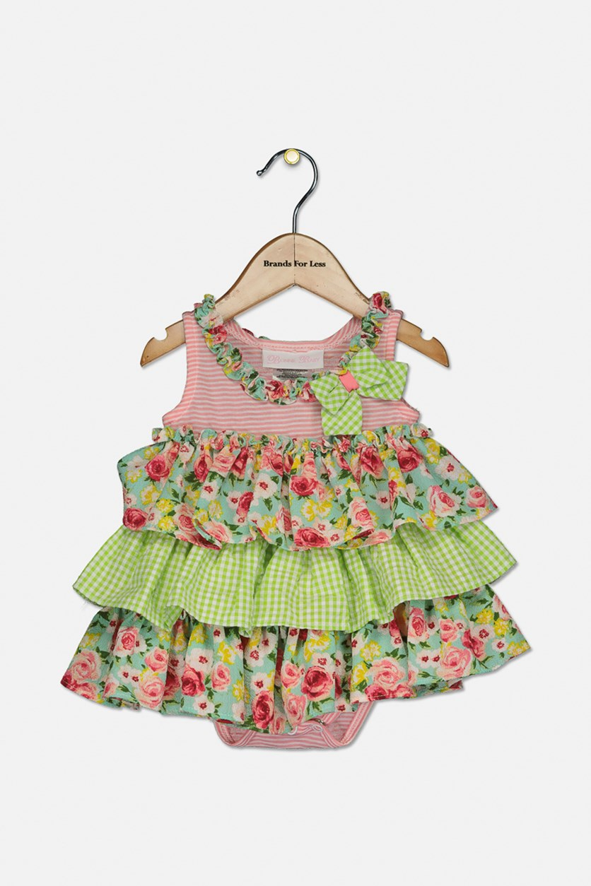 Baby Girls Tiered Ruffle Dress, Pink/Green Combo