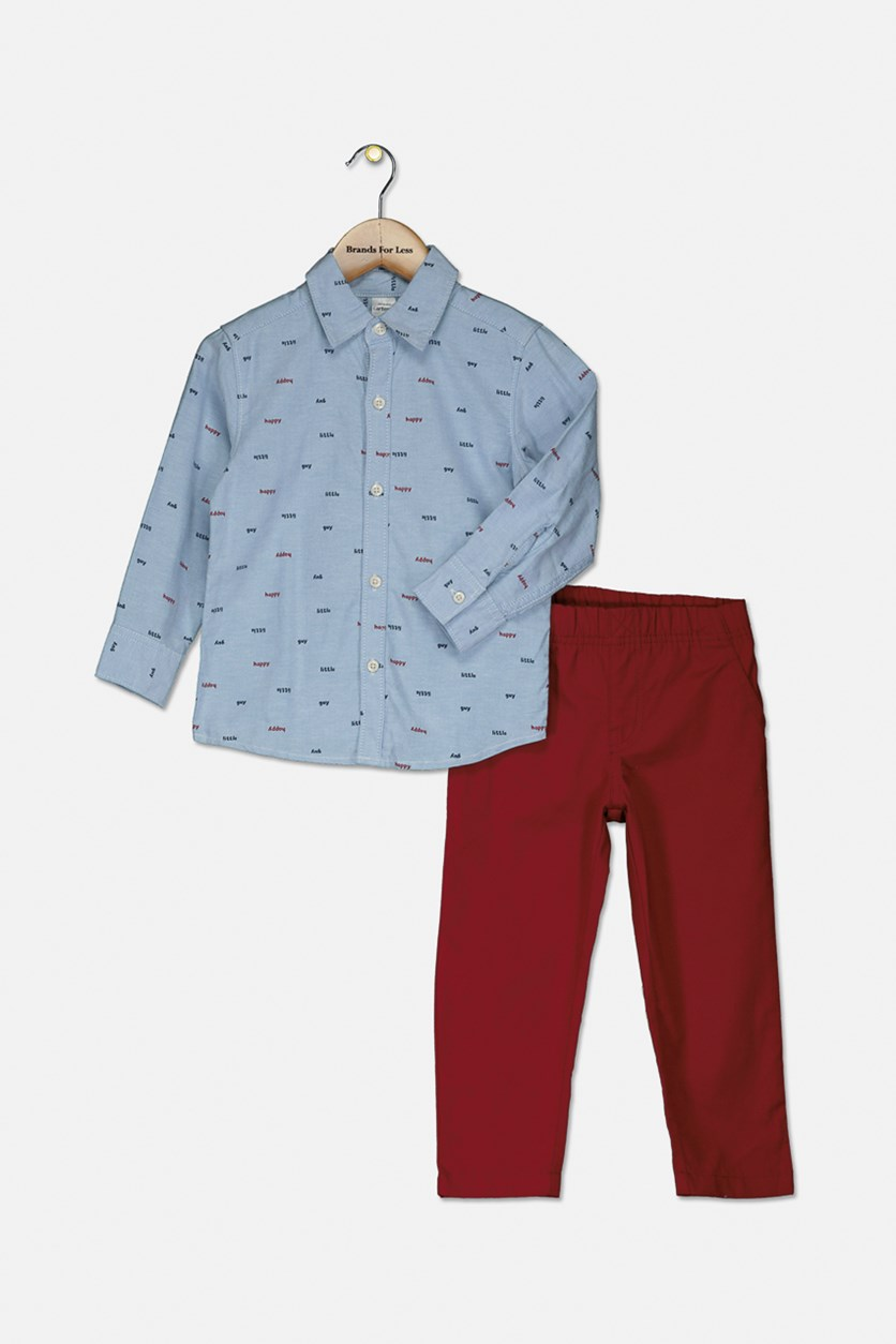 Toddler BoyS 2pc Happy Guy Top & Canvas Pants Set, Blue/Red