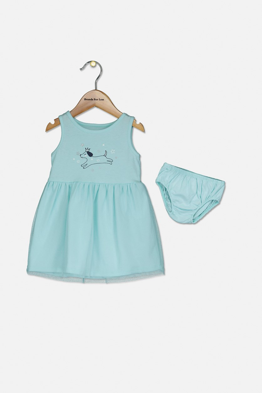 Baby Girls Princess Dog Graphic Sundress, Aqua