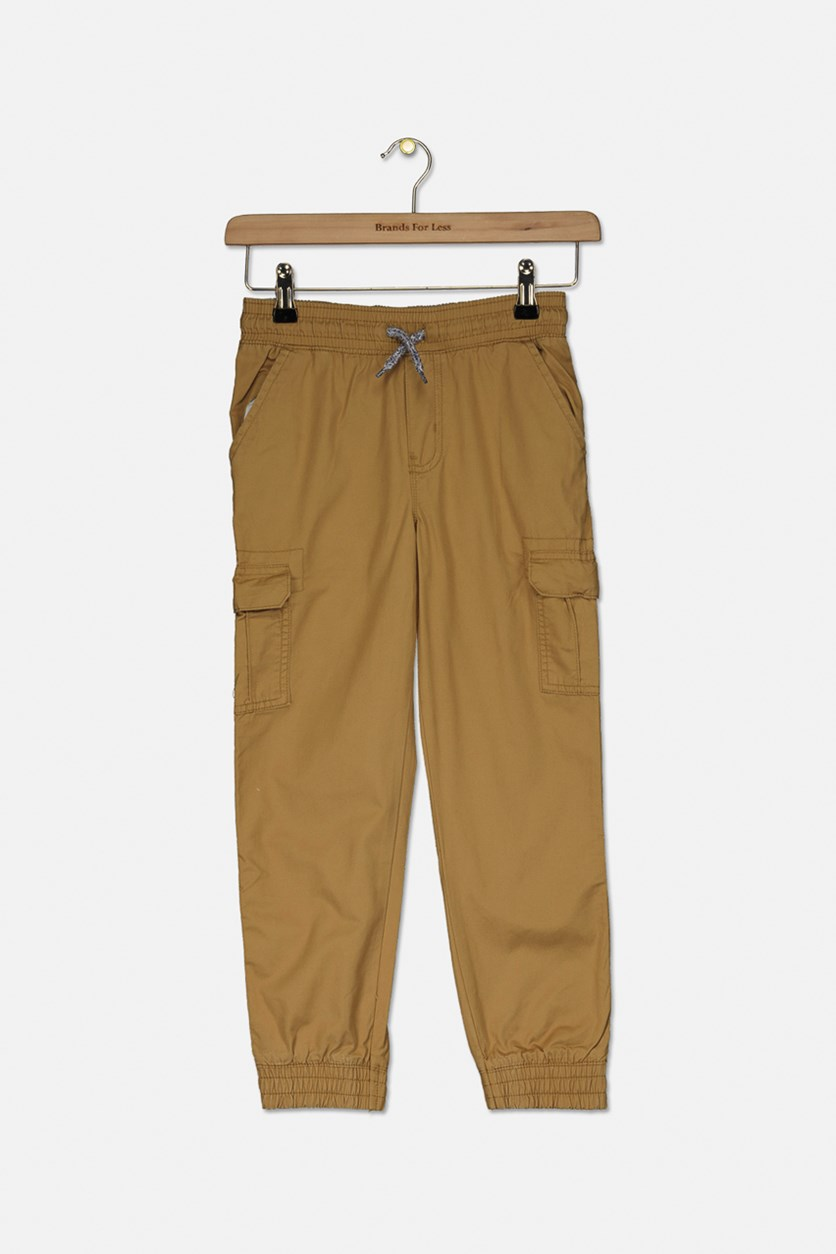 Kids Boy's Drawstring Pants, Khaki