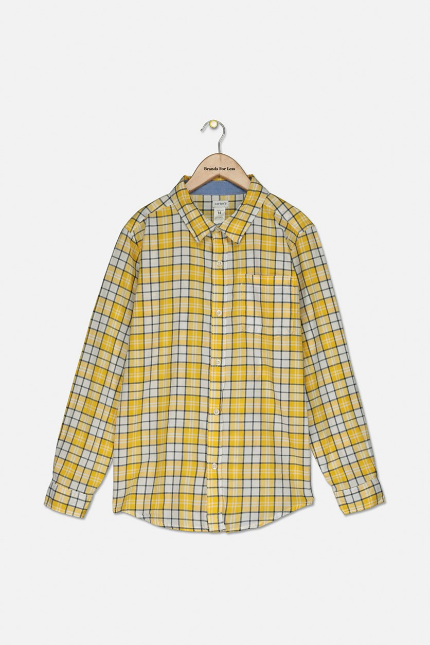 Big Boy's Long Sleeves Plaid Casual Shirt, Yellow