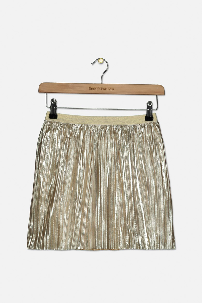 Girl's Metallic Pleated Skirt, Gold