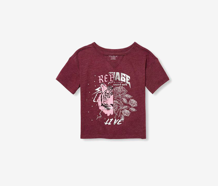Girl's Graphic Printed Top, Burgundy