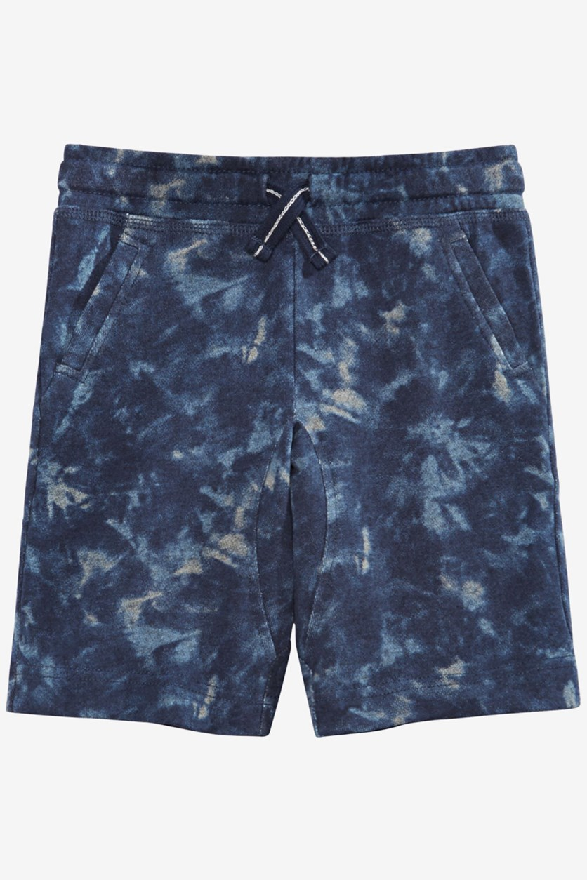 Toddler Boys Tie-Dyed Knit Shorts, Denim Blue
