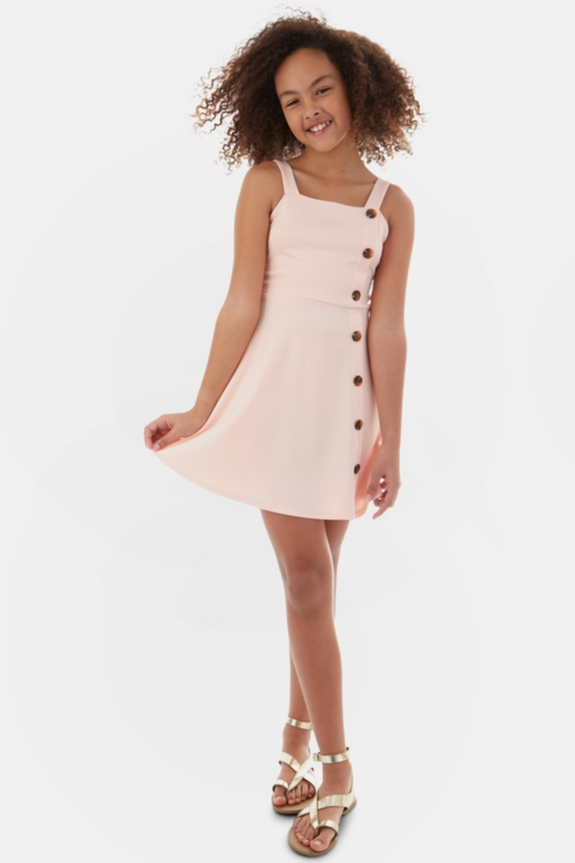 Big Girls Button-Trim Dress, Blush