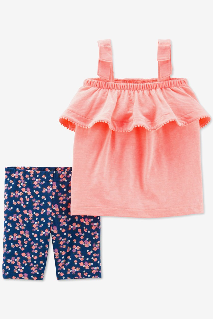 Baby Girls Ruffle Tank Floral Shorts Set, Coral/Navy
