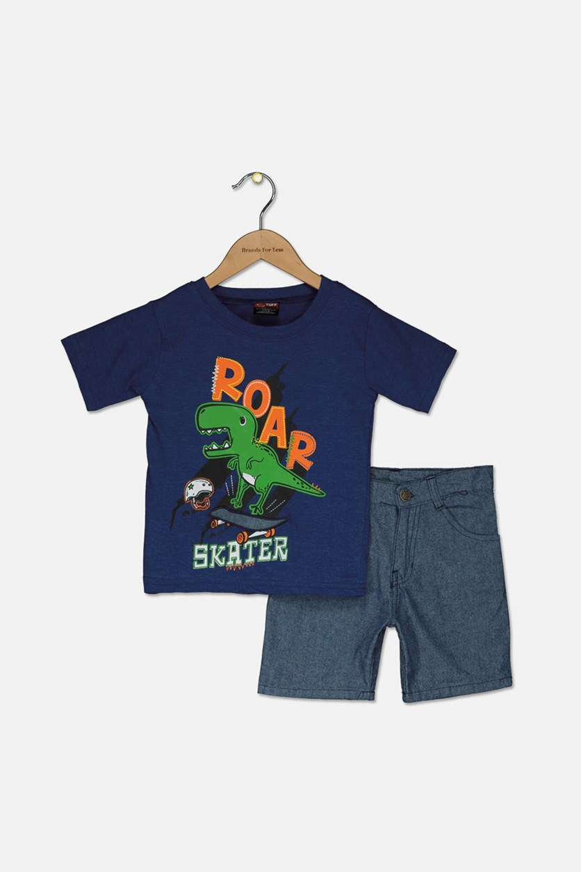 Toddler Boys 2 Pc Tshirt and Woven Short Set, Blue/Navy