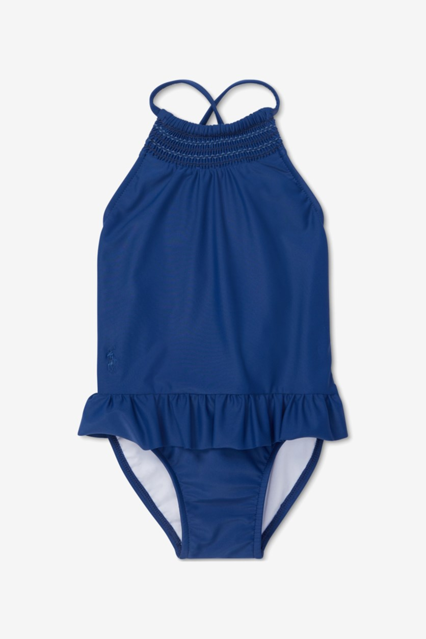 Baby Girls Smocked One-Piece Swimsuit, Blue