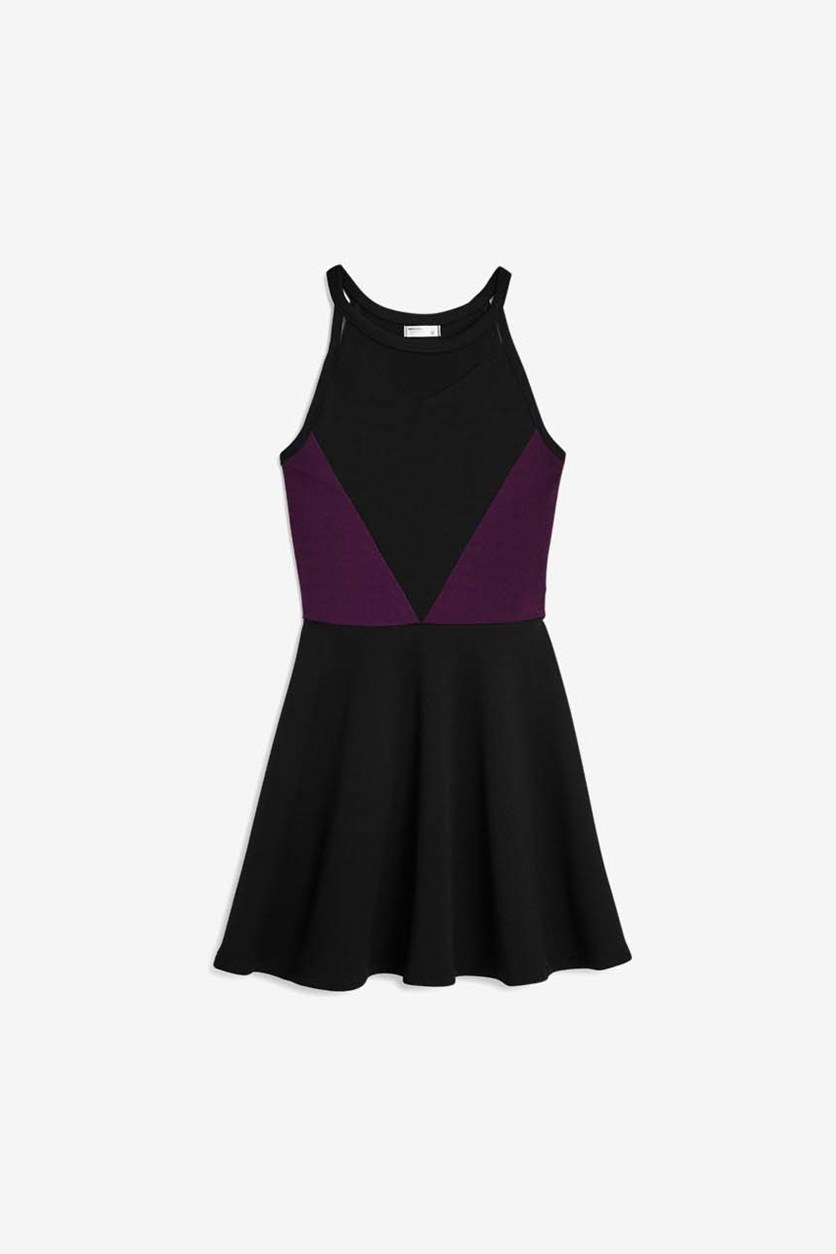 Girls' Textured Mesh Cutout Dress, Black/Purple