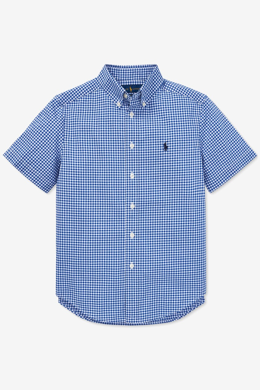 Big Boys Plaid Casual Tops, Blue