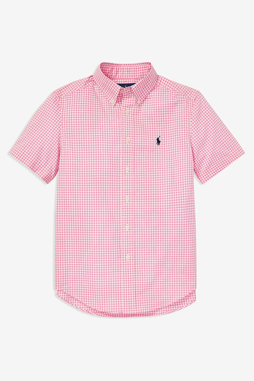 Kids Boys' Gingham Short Sleeve Shirt, Pink/White