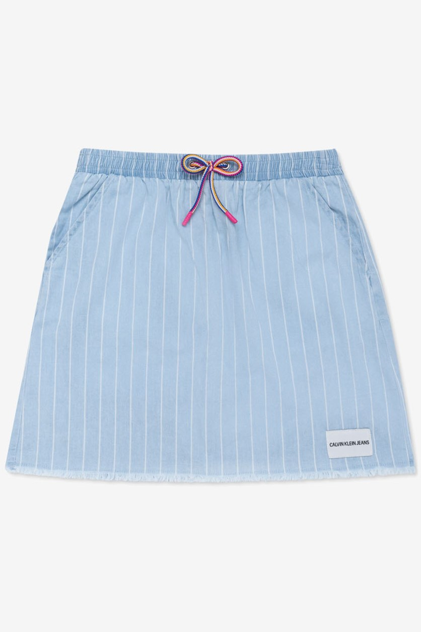 Big Girl's Cotton Striped Chambray Skirt, Light Blue