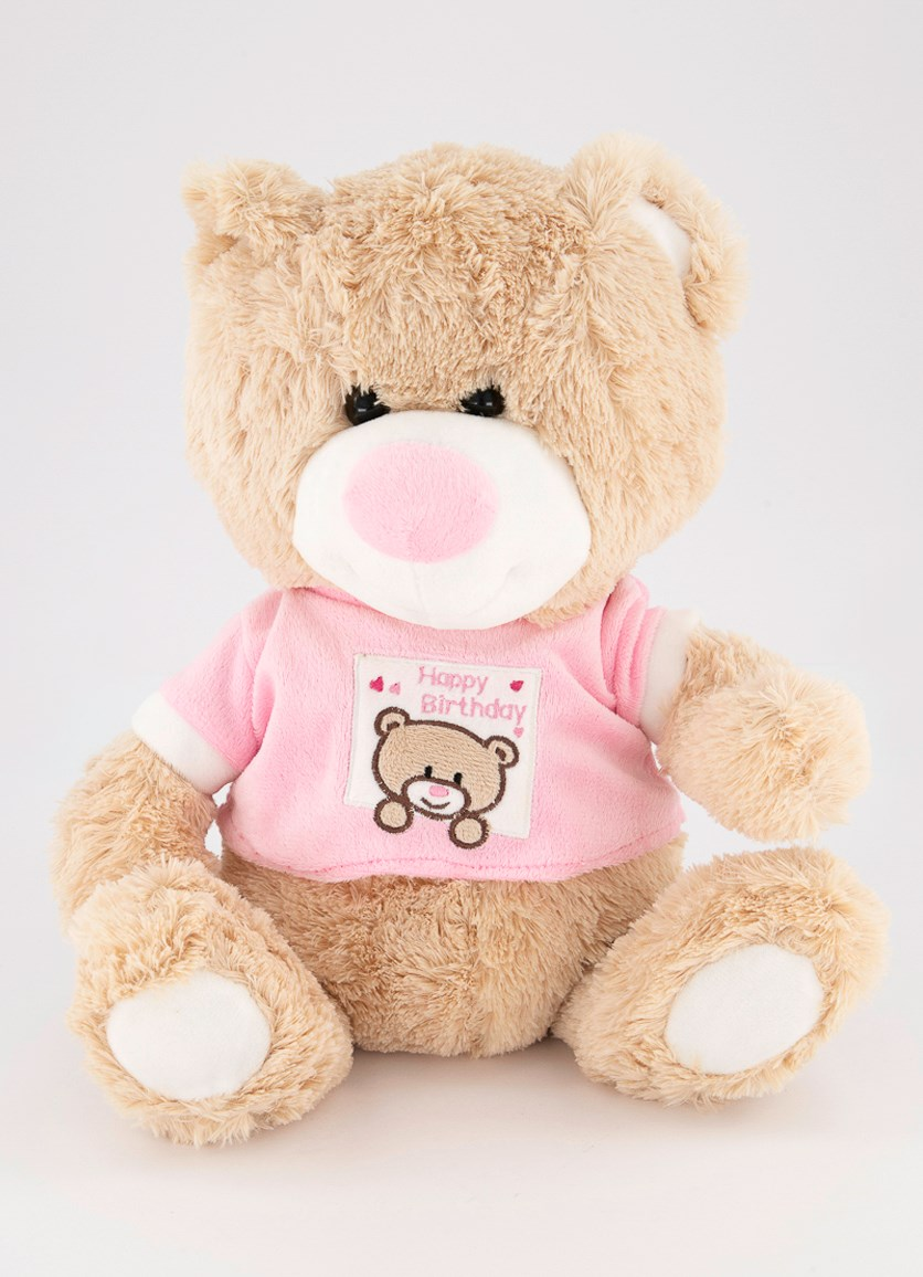 Birthday Cuddle Bear, Tan/Pink